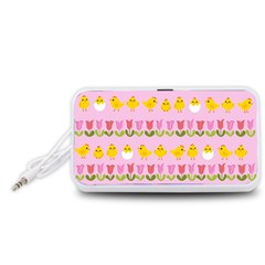 Easter - chick and tulips Portable Speaker (White)