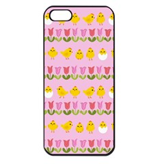 Easter - chick and tulips Apple iPhone 5 Seamless Case (Black)