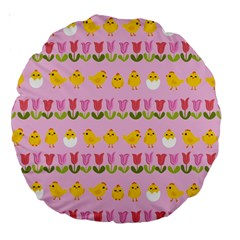 Easter - chick and tulips Large 18  Premium Round Cushions