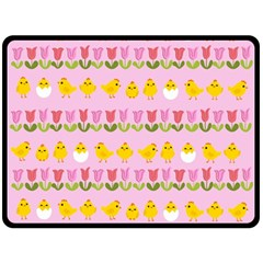 Easter - chick and tulips Double Sided Fleece Blanket (Large)