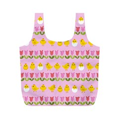 Easter - chick and tulips Full Print Recycle Bags (M)