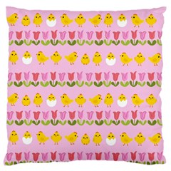 Easter - chick and tulips Standard Flano Cushion Case (Two Sides)