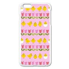 Easter - chick and tulips Apple iPhone 6 Plus/6S Plus Enamel White Case
