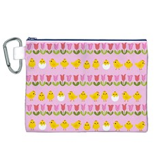 Easter - chick and tulips Canvas Cosmetic Bag (XL)