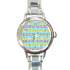 Easter - chick and tulips Round Italian Charm Watch