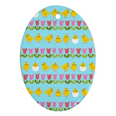 Easter - chick and tulips Ornament (Oval)