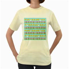Easter - chick and tulips Women s Yellow T-Shirt