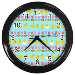 Easter   Chick And Tulips Wall Clocks (black)