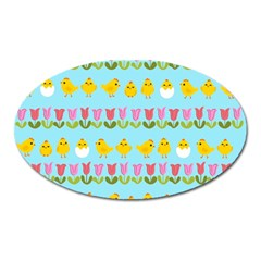 Easter - chick and tulips Oval Magnet