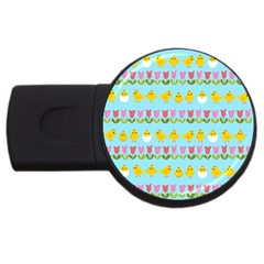 Easter - chick and tulips USB Flash Drive Round (1 GB)