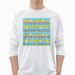 Easter - chick and tulips White Long Sleeve T-Shirts
