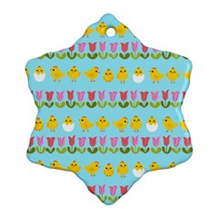 Easter - chick and tulips Snowflake Ornament (Two Sides)