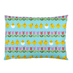 Easter - chick and tulips Pillow Case (Two Sides)