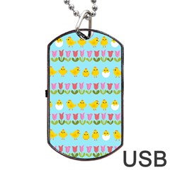 Easter - chick and tulips Dog Tag USB Flash (One Side)