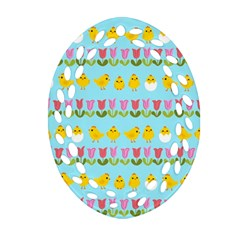 Easter - chick and tulips Oval Filigree Ornament (Two Sides)