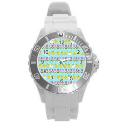 Easter   Chick And Tulips Round Plastic Sport Watch (l)