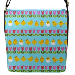 Easter - chick and tulips Flap Messenger Bag (S)