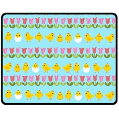 Easter - chick and tulips Double Sided Fleece Blanket (Medium)