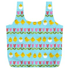 Easter - chick and tulips Full Print Recycle Bags (L)
