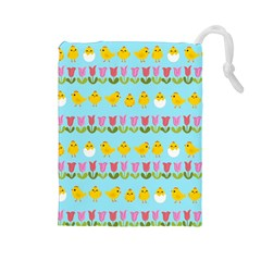 Easter - chick and tulips Drawstring Pouches (Large)