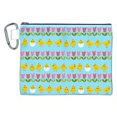 Easter - chick and tulips Canvas Cosmetic Bag (XXL)