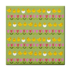 Easter - chick and tulips Tile Coasters