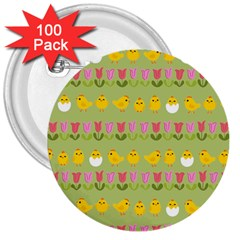 Easter - chick and tulips 3  Buttons (100 pack)