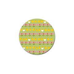 Easter   Chick And Tulips Golf Ball Marker (4 Pack)