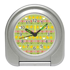 Easter - chick and tulips Travel Alarm Clocks