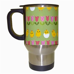 Easter - chick and tulips Travel Mugs (White)