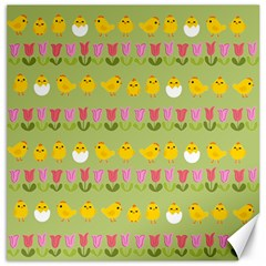 Easter - chick and tulips Canvas 12  x 12