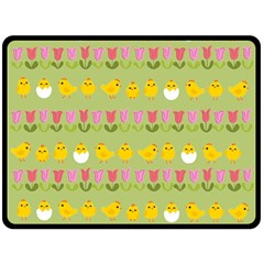 Easter - chick and tulips Fleece Blanket (Large)