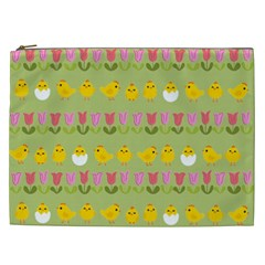 Easter - chick and tulips Cosmetic Bag (XXL)