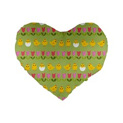 Easter - chick and tulips Standard 16  Premium Flano Heart Shape Cushions