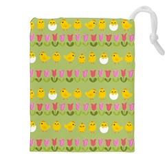 Easter - chick and tulips Drawstring Pouches (XXL)