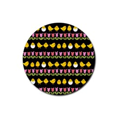 Easter - chick and tulips Rubber Coaster (Round)