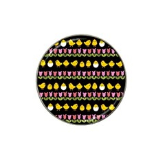 Easter - chick and tulips Hat Clip Ball Marker (4 pack)