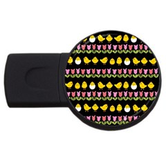 Easter - chick and tulips USB Flash Drive Round (4 GB)