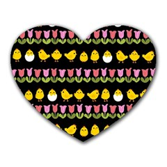 Easter - chick and tulips Heart Mousepads