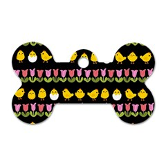Easter - chick and tulips Dog Tag Bone (Two Sides)