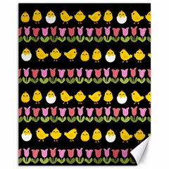 Easter - chick and tulips Canvas 11  x 14