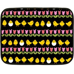 Easter   Chick And Tulips Double Sided Fleece Blanket (mini)