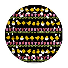 Easter - chick and tulips Ornament (Round Filigree)