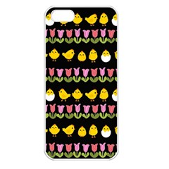 Easter - chick and tulips Apple iPhone 5 Seamless Case (White)