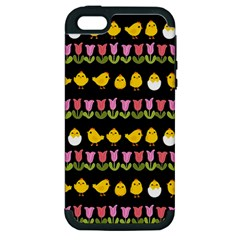 Easter - chick and tulips Apple iPhone 5 Hardshell Case (PC+Silicone)