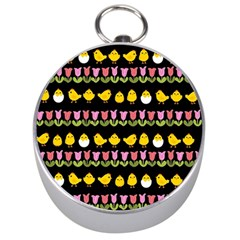 Easter - chick and tulips Silver Compasses
