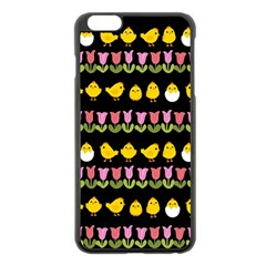 Easter - chick and tulips Apple iPhone 6 Plus/6S Plus Black Enamel Case