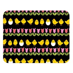 Easter - chick and tulips Double Sided Flano Blanket (Large)