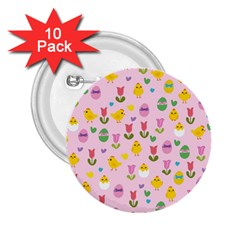 Easter - chick and tulips 2.25  Buttons (10 pack)