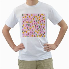 Easter - chick and tulips Men s T-Shirt (White) (Two Sided)